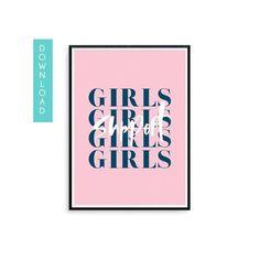 e7f85225f Feminist Art - Girls Support GIrls - Feminism Art - Girl Power - Empowered  Women Empower