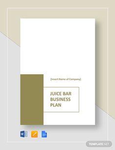 Juice Bar Business Plan Template - Word (DOC)   Google Docs   Apple (MAC) Pages   PDF   Template.net Business Plan Template Word, Business Plan Pdf, Business Proposal Template, Writing A Business Plan, Proposal Templates, Business Planning, Restaurant Business Plan, Bakery Business, Cover Sheet Template