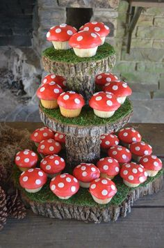 Wild one first birthday party Toadstool cupcakes. Moss and tree cupcake stand