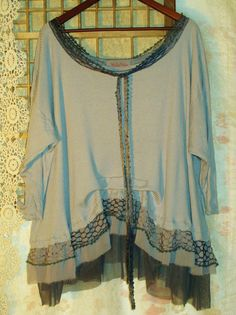 .Plus size 3xl-6xl lagenlook tunic made of repurposed clothing