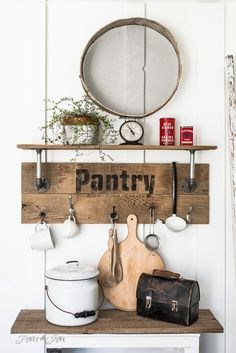 Industrial pipe and reclaimed wood Pantry shelf made with Old Sign Stencils | funkyjunkinteriors.net