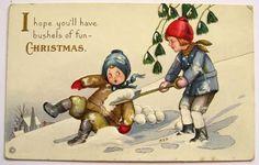 Mary Evans Price MEP Christmas Postcard ~ Snowball Kids