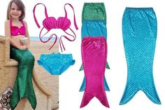 How cute is this 3 piece kids mermaid swimsuit?! Perfect for a day at the pool or the beach