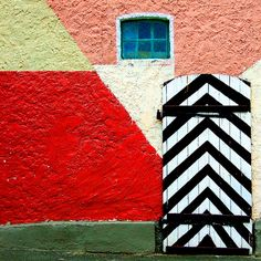 Painted walls, doors by the street