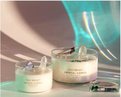 Sea Elixir Crystal Candle in Various Sizes design by Tiny Bandit Diy Candles Easy, Homemade Candles, Scented Candles, Candle Jars, Diy Candle Ideas, Candle Display Ideas, Diy Candles To Sell, Diy Aromatherapy Candles, Making Candles