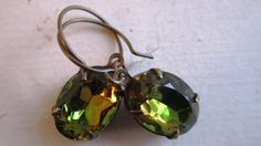 Vintage Olivine Topaz Earrings. Green and Gold by crowandcompany, $16.50