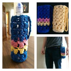 NEW FREE YARNWARS PATTERN! Hip to Be Square Crochet Water Bottle Cozy!