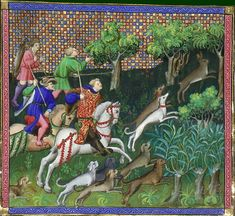 Hunting the hare. Gaston Phebus, Le livre de chasse, early 15th C. BNF MS Français 616, fol. 89v. Bibliotheque nationale, Paris.