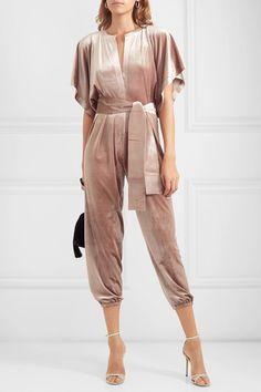 Antique-rose velvet Slips on polyester, spandex Dry clean Imported Gold Jumpsuit, Velvet Jumpsuit, Norma Kamali, Antique Roses, Spandex, Plunging Neckline, Western Wear, Dressing, Feminine
