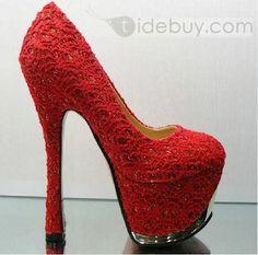 Red Glaring Sky-high Mesh Platform Stiletto Heels : Tidebuy.com