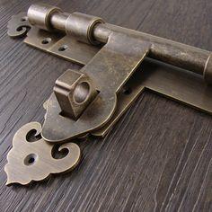 brass made: Chinese style brass lock, antique door locks, Furniture brass lock, Cupboard door lock, courtyard door lock(245mm long) by DiySupplyers on Etsy