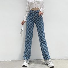 Funky Outfits, Preppy Outfits, Preppy Style, Trouser Outfits, Denim Outfit, Plaid Jeans, Denim Pants, Funky Pants, Bleached Jeans