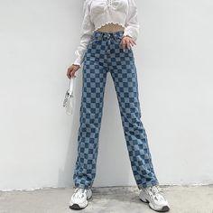 Baggy Pants, Cute Pants, 90s Pants, Denim Pants, Patterned Pants Outfit, Patterned Jeans, Plaid Jeans, Funky Pants, Bleached Jeans