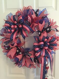 Large Patriotic Wreath, Fourth of July Wreath, Memorial Day Wreath, wreath, Veterans day wreath, red white and Blue Wreath, Anytime Wreath by RoesWreaths on Etsy https://www.etsy.com/listing/462349599/large-patriotic-wreath-fourth-of-july