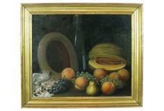 """19th-C. Still Life by George K. Knapp on OneKingsLane.com $1,775 Origin:USAMaterials:oil on canvas/wood frame/gold leafSize:2.5"""" L x 28.75"""" W x 24.5""""  As described by The Barn at 17 Antiques  A fine 19th-century American still life with peaches, grapes, and wine by George K. Knapp. Displayed in the original gold leaf wood frame. Signed and dated lower left, """"G K Knapp 1891"""". Mr Knapp (1833-1910) lived and worked in the Finger Lakes Region of Central New York State. Image, 23.5""""W x 19.5""""H."""