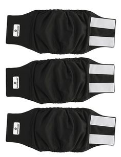Washable Dog Belly Bands 3 pack Durable Male Dog Diapers Black Size Medium #PetParents