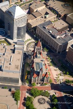 Aerial view of Landmark Center in St. Paul, Minnesota.