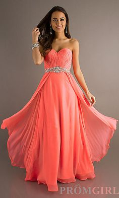 Long Strapless Sweetheart Dress with Ruched Bodice at PromGirl.com
