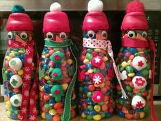 Creamer bottles decorated & filled with M&Ms