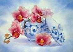Orchid and japanese bowl  Ann Mortimer