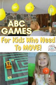 Abc Games For Kids, Kids Learning Activities, Fun Learning, Preschool Alphabet, Learning The Alphabet, Alphabet Activities, Kids Up, Gross Motor Skills, Preschool Kindergarten