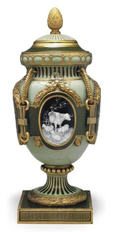 Minton Pate-sur-Pate Celadon Porcelain Urn