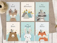 Giclee print set Set of 6 postcards Forest friends Forest animal set Nursery forest decor Deer racoon Mountains Woodlands nursery Bebek Odası Forest Nursery, Woodland Nursery, Forest Friends Nursery, Baby Boy Rooms, Baby Boy Nurseries, Baby Room, Kids Rooms, Nursery Prints, Nursery Art