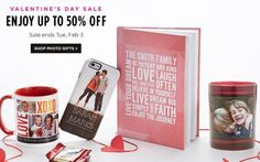 Last Day Shutterfly offers up to 50% off Valentine's Day Sale
