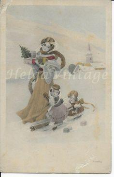 French Art Deco Christmas art postcard, angels,church, winter scene 1913 Christmas Art, Christmas Decorations, French Art, Winter Scenes, Angels, Art Deco, Painting, Ebay, French Artwork
