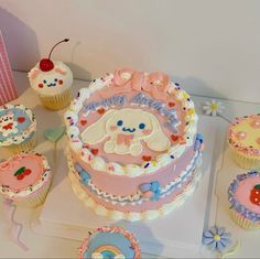 Pretty Birthday Cakes, Pretty Cakes, Anime Cake, Korean Cake, Pastel Cakes, Frog Cakes, Cute Baking, Kawaii Dessert, Think Food