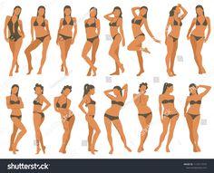 Vetor stock de Set Girls Bikini Standing Different Poses (livre de direitos) 1110117410 - New Ideas Female Modeling Poses, Female Poses, Model Poses Photography, Best Photo Poses, Figure Poses, Bikini Poses, Standing Poses, Portrait Poses, Sexy Poses