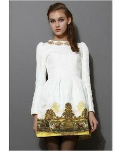 Chicwish Scenic Print Jacquard Dress