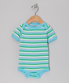 Teal & Green Stripe Organic Bodysuit