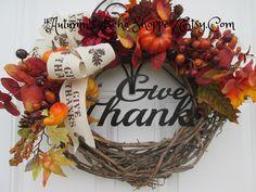 THANKSGIVING DECOR WREATH  , Thanksgiving Door Wreath , Thanksgiving Hostess Gift Idea ,Thanksgiving Interior Decor Wreath  Seasonal Decorl by AutumnsEchoShoppe on Etsy