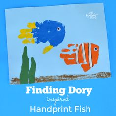Adorable Dory and Nemo handprint fish inspired by Finding Dory kid craft movie inspired handprint art painting Toddler Art, Toddler Crafts, Crafts For Kids, Easy Crafts, Nemo Y Dory, Ocean Crafts, Rainbow Crafts, Footprint Crafts, Handprint Art