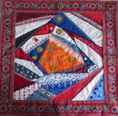 I ❤ crazy quilting & ribbon embroidery . . . Crazy Quilt with theme The Netherlands~ Our national flag is Red-White-Blue. Orange is the colour of our Royal House. Since April 2013 we have a new King, Willem Alexander, since January 2014 we have our Dutch euro's with his face. ~By Margreet from Holland
