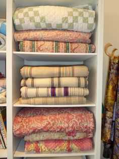 Stack of quilts in Lampeter Wales
