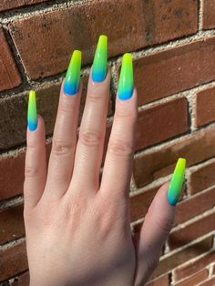 Neon Blue Nails, Orange Ombre Nails, Lime Green Nails, Blue Acrylic Nails, Rainbow Nails, Nails Turquoise, Rainbow Nail Art Designs, Neon Nail Designs, Ambre Nails