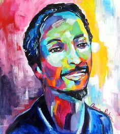 """Tariq"" 16x20"" acrylic on paper, abstract portrait painting by Amira Rahim"