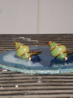 SOLD Vintage KENNETH JAY LANE Earrings JADE Faux Costume Jewelry Baroque 80s Clip On…