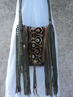Handmade Green Leather Suede Bag Tassel Fringe Hippie Boho Gypsy Purse tmyers #Handmade #boho
