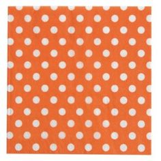Serviette papier orange à pois blancs les 20, Serviette de table à pois, art de table, déco, mariage, fêtes