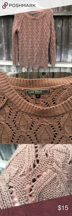 Brown lovestitch open cable knit sweater This sweater is 💯 percent acrylic.  It's not a heavy weight sweater at all.  It's in good used condition.  There is some piling which can easily be removed with a razor.  Feel free to ask any questions.  Thanks for looking.  No trades. Love Stitch Sweaters Crew & Scoop Necks
