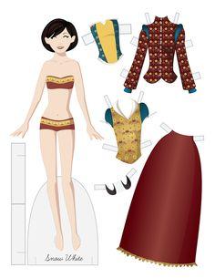 (⑅ ॣ•͈ᴗ•͈ ॣ)                                                                 ✄Snow White vector paper doll.  A fairy tale fashion paper doll.