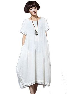 Minibee Womens Cotton Irregular Casual Pocket Dress Fit US XSM White -- Want additional info? Click on the image.