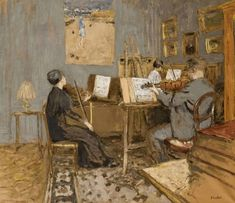"Edouard Vuillard painted ""Le concert matinal"" during 1937 and It is connected with the Place Vintimille, which is now called the Plac. Edouard Vuillard, Le Concert, Impressionist Artists, Post Impressionism, Art Plastique, Oeuvre D'art, Lovers Art, Art History, Illustration Art"