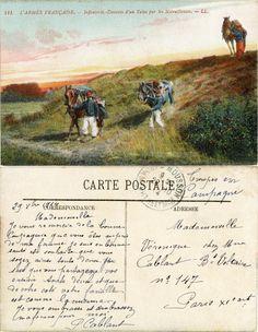 L'Armée Française - Infanterie - Descente d'un Talus par les Mitrailleuses - 1914 (from http://mercipourlacarte.com/picture?/1084/)