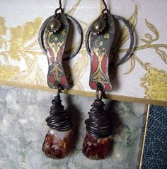 Eco Friendly, Recycled vintage Tin, raw butterscotch crystal earrings by anvilartifacts
