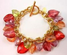 "QVC for JOAN RIVERS 'Forever Yours' Heart Charm Bracelet Pastels Gold Tone 7""L #AD $29.99 FREE USA SHIPPING!"