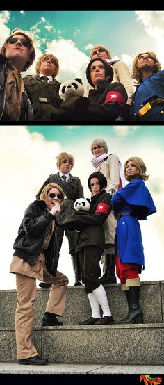 Our Allied Forces cosplay from Axis Powers Hetalia for Youmacon :) I was so honoured to cosplay with the [ps. Hetalia Cosplay: The Allies Epic Cosplay, Amazing Cosplay, Cosplay Costumes, Group Cosplay, Anime Cosplay, Cosplay Ideas, Latin Hetalia, China Hetalia, Otaku